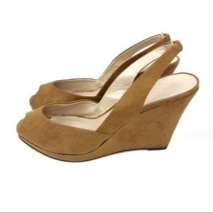Cato Tan Faux Suede Peep Toe Sling Back Wedges 8